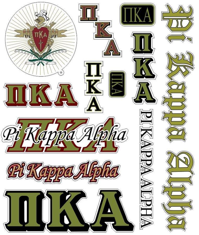 Pi Kappa Alpha Multi Greek Decal Sticker Sheet