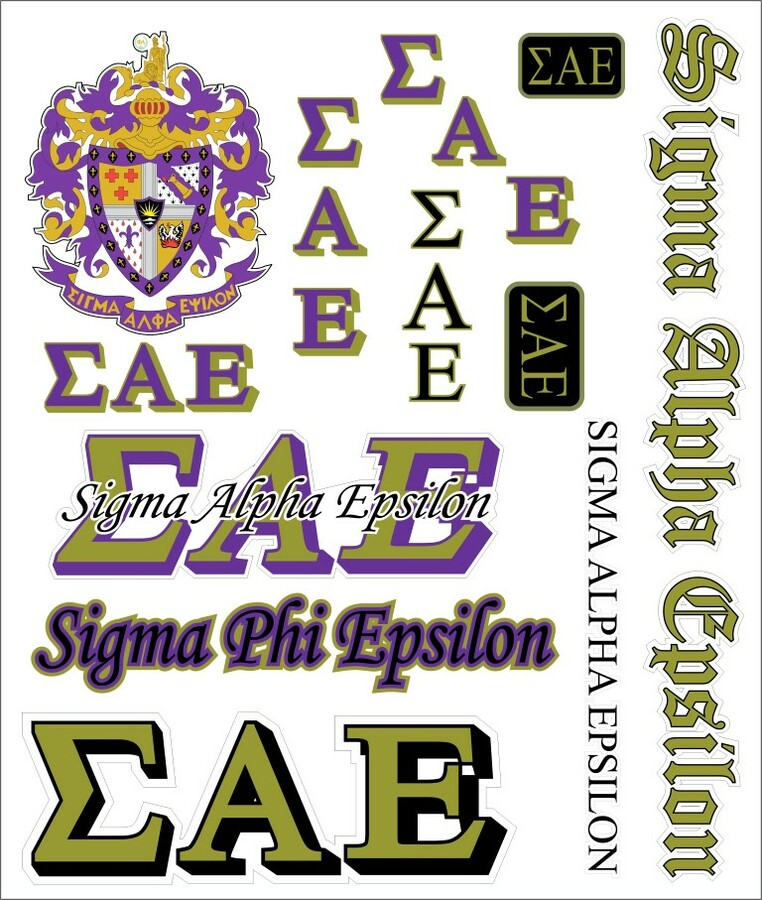 Sigma Alpha Epsilon Multi Greek Decal Sticker Sheet