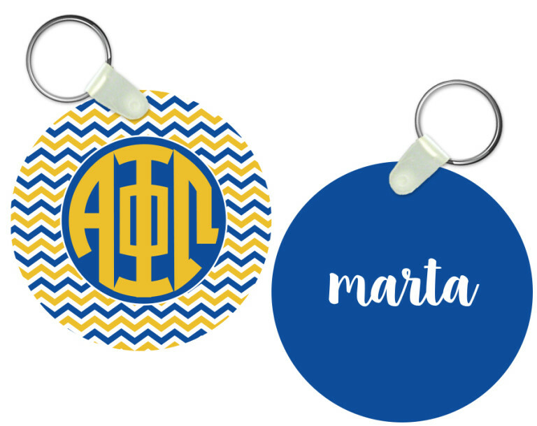 Alpha Phi Omega Chevron Personalized Keychain