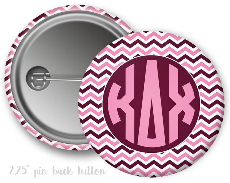 Kappa Delta Chi Chevron Monogram Button