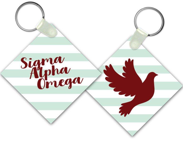 Sigma Alpha Omega Striped Mascot Keychain