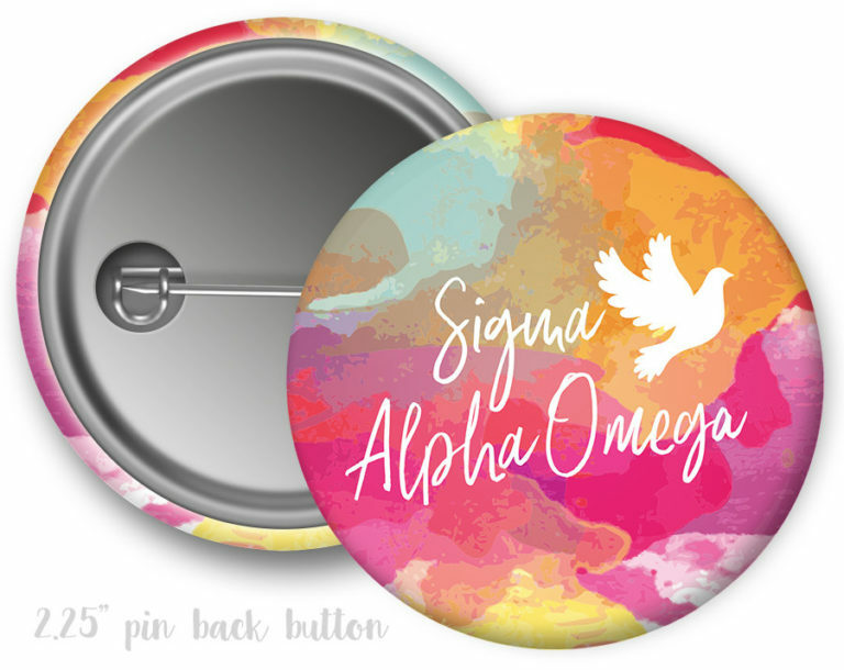 Sigma Alpha Omega Watercolor Button