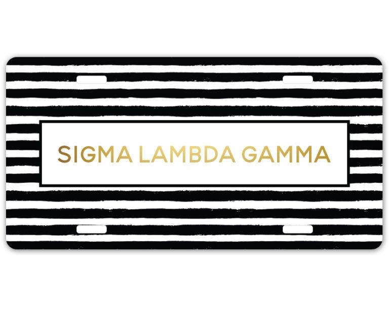 Sigma Lambda Gamma Striped License Plate