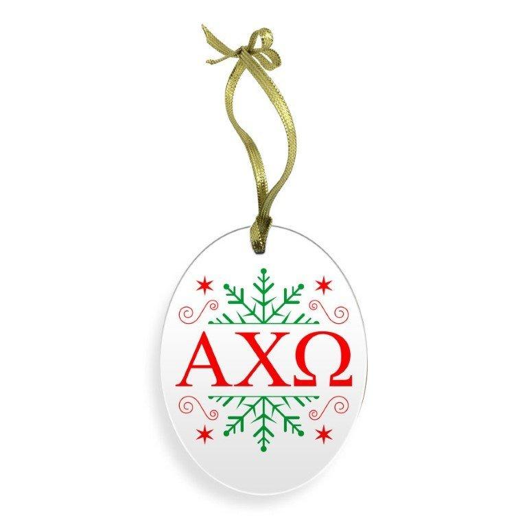 Alpha Chi Omega Holiday Color Snowflake Glass Christmas Ornament