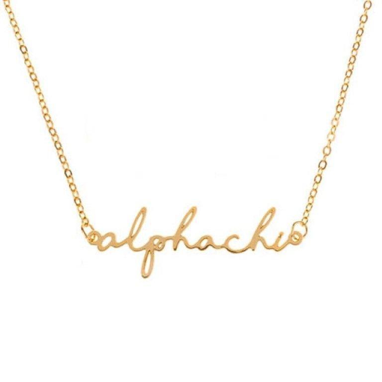 Alpha Chi Omega Sorority Script Necklace