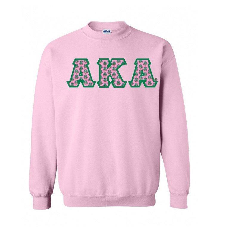 Alpha Kappa Alpha Crest - Shield Twill Letter Crewneck Sweatshirt