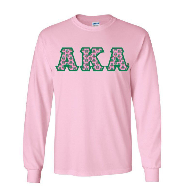 Alpha Kappa Alpha Crest - Shield Twill Letter Long Sleeve Tee