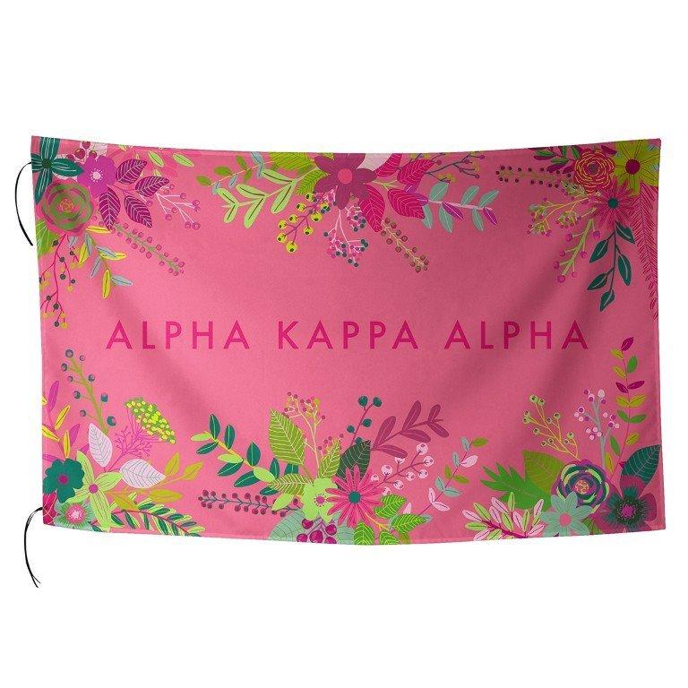 Alpha Kappa Alpha Floral Flag