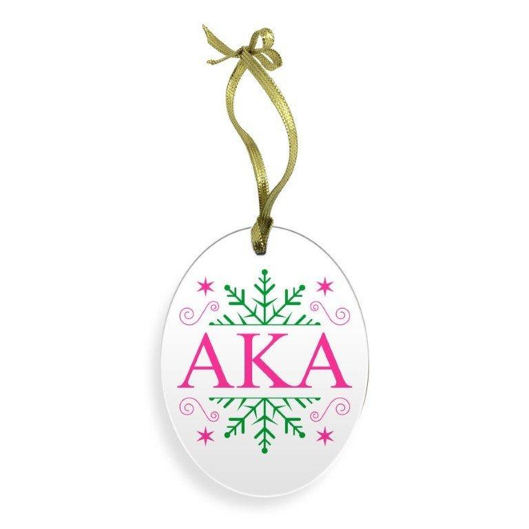 Alpha Kappa Alpha Holiday Color Snowflake Glass Christmas Ornament