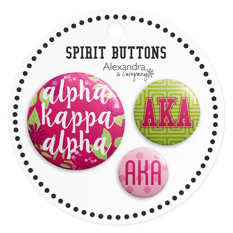 Alpha Kappa Alpha Sorority New Spirit Button Set