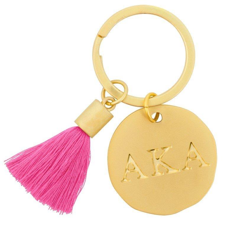 Alpha Kappa Alpha Sorority Tassel Gold Key Chain