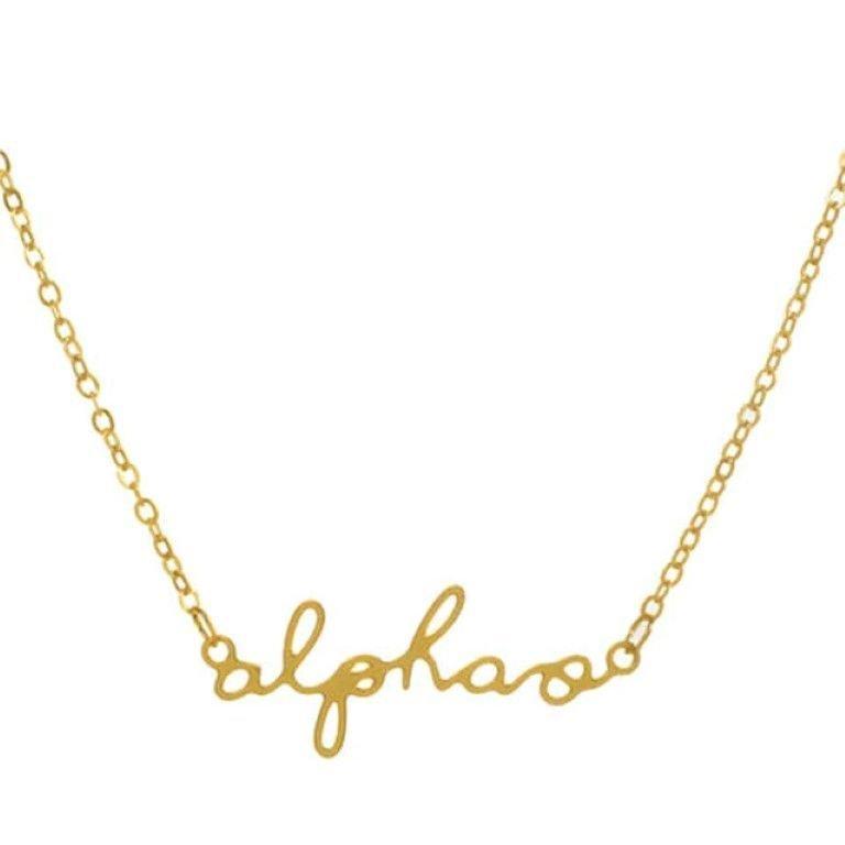 Alpha Omicron Pi Sorority Script Necklace