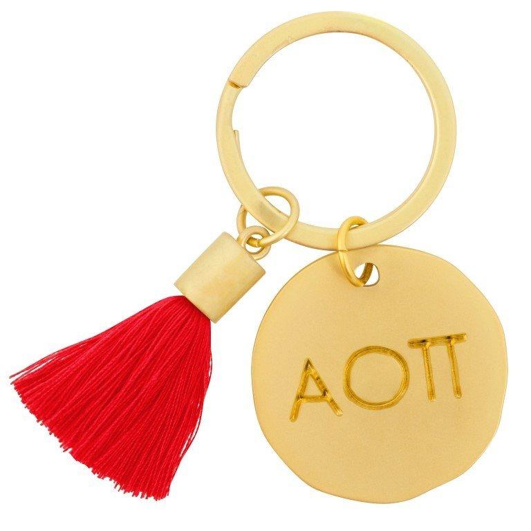 Alpha Omicron Pi Sorority Tassel Gold Key Chain