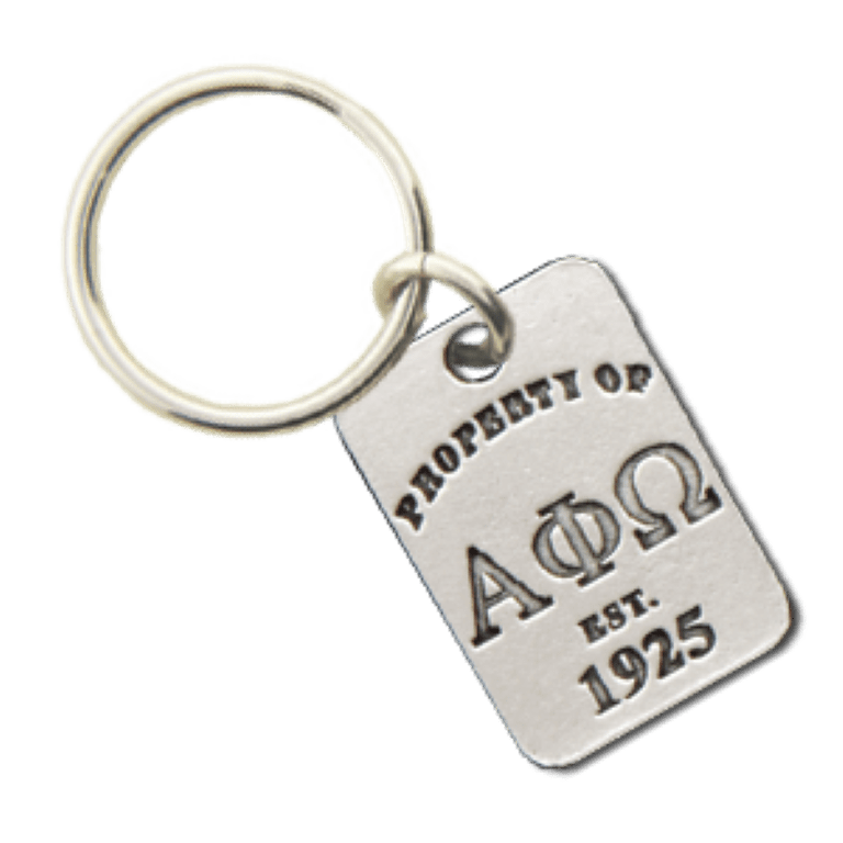 Alpha Phi Omega Property of Tag Keychain