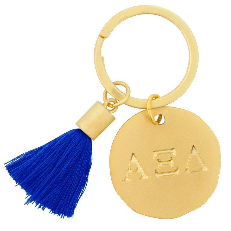 Alpha Xi Delta Sorority Tassel Gold Key Chain