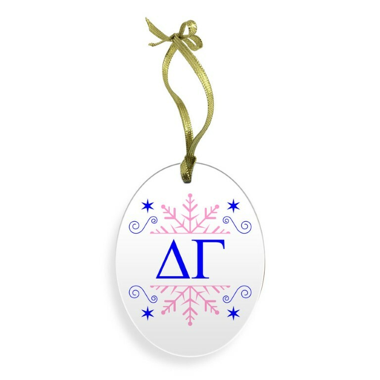 Delta Gamma Holiday Color Snowflake Glass Christmas Ornament