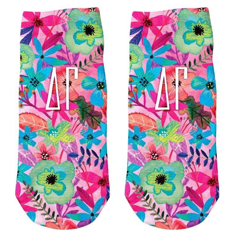 Delta Gamma Sorority Floral Ankle Socks