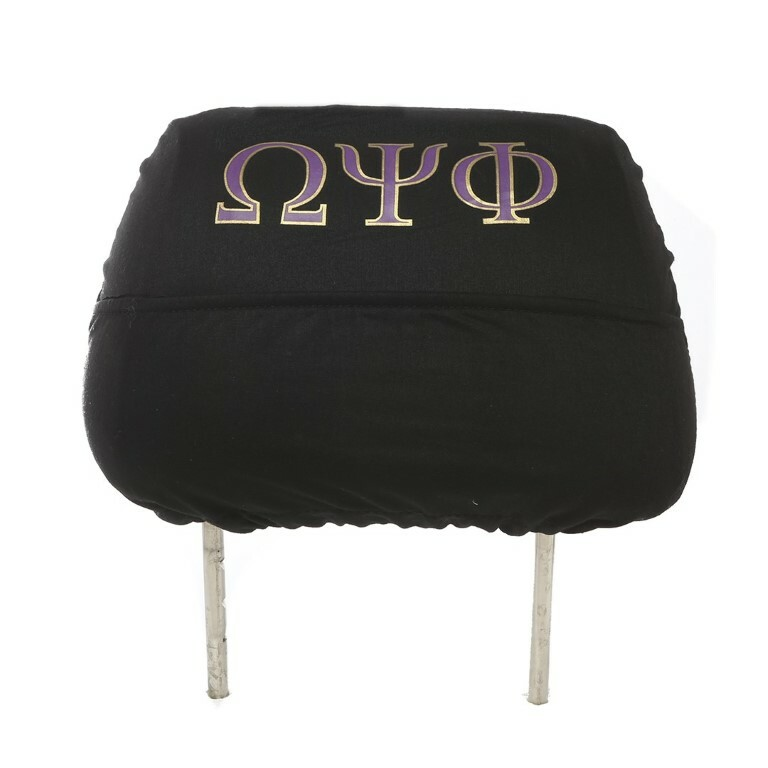 Omega Psi Phi Black Car Seat Headrest Cover