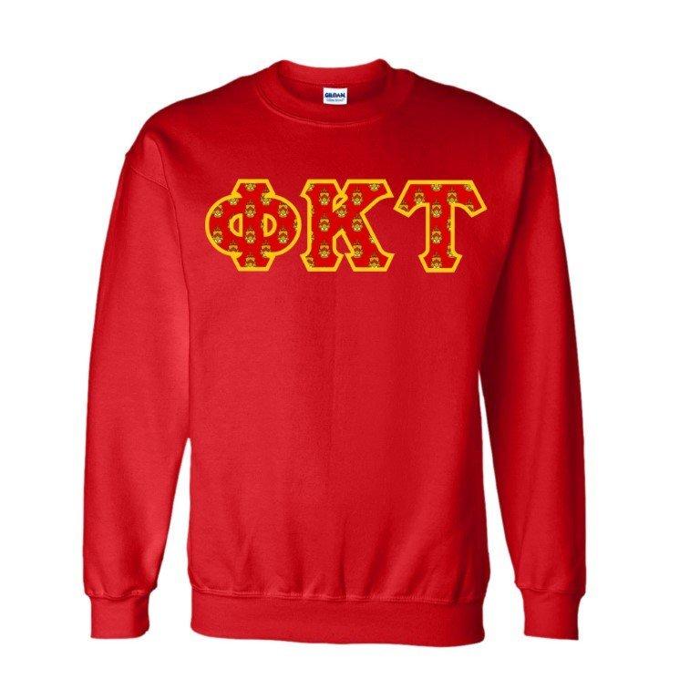 Phi Kappa Tau Fraternity Crest - Shield Twill Letter Crewneck Sweatshirt