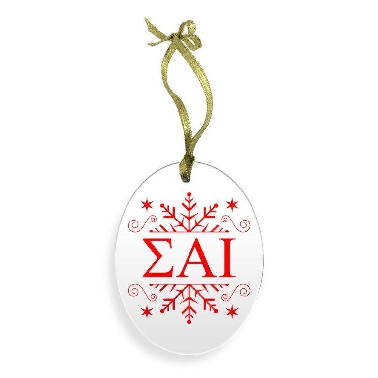 Sigma Alpha Iota Holiday Color Snowflake Glass Christmas Ornament