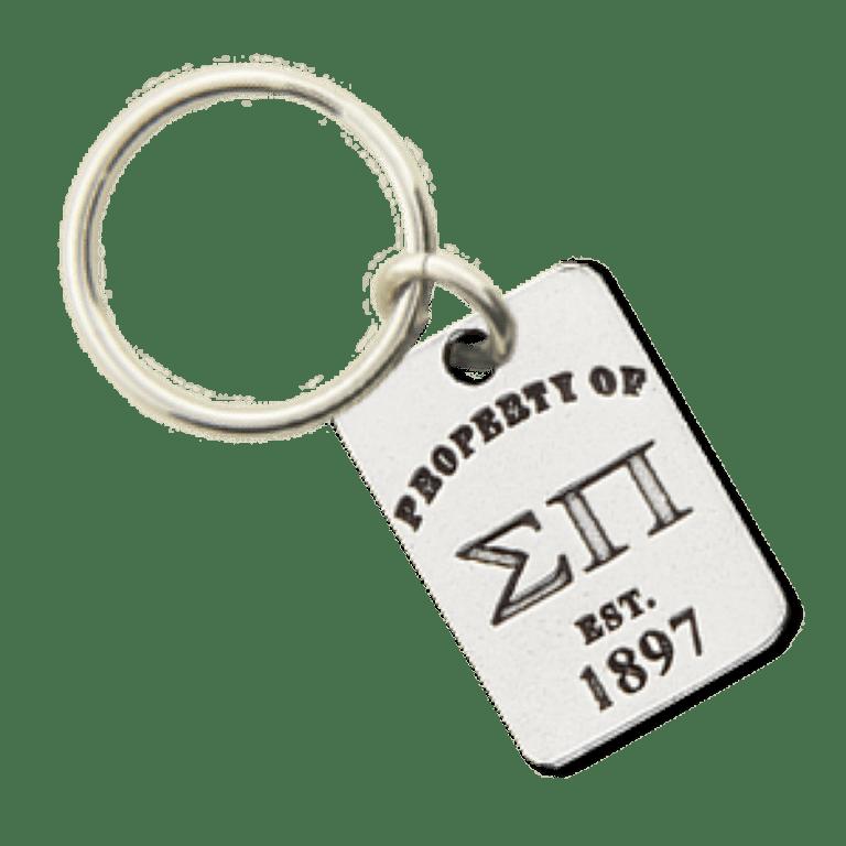 Sigma Pi Property of Tag Keychain