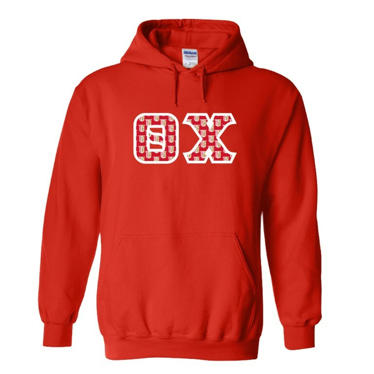 Theta Chi Fraternity Crest - Shield Twill Letter Hooded Sweatshirt