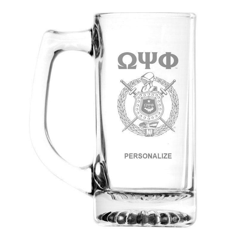 Omega Psi Phi Glass Engraved 25 Ounce Mug