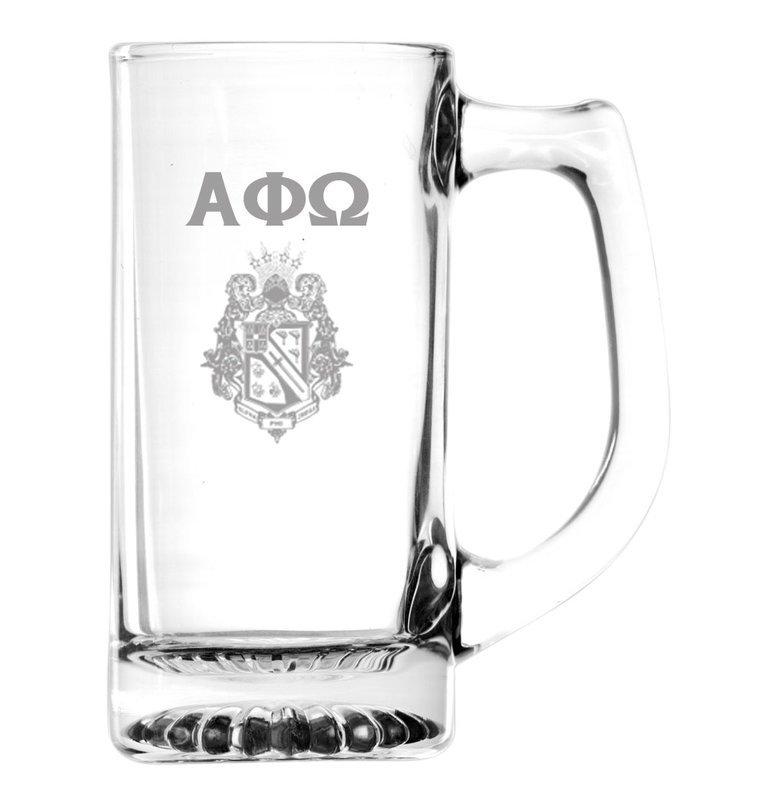Alpha Phi Omega Glass Engraved Mug