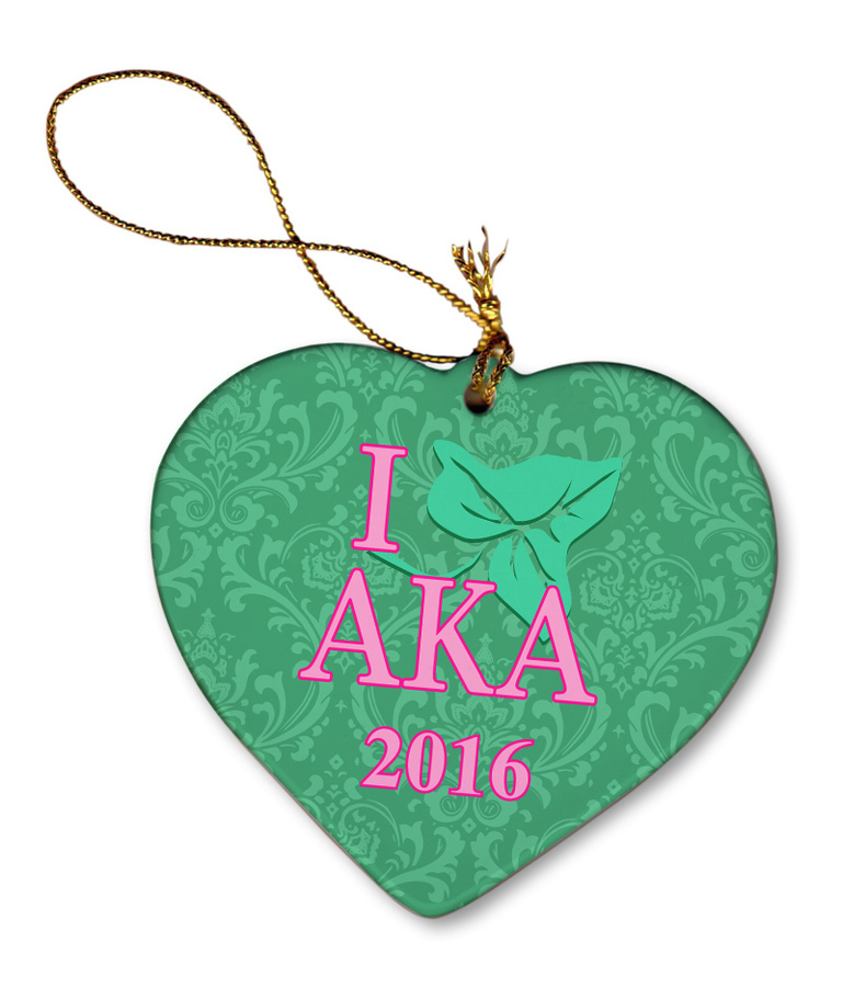 Alpha Kappa Alpha Porcelain Heart Christmas Ornament
