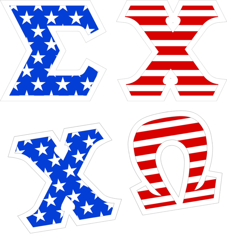 "American Flag Giant 4"" Greek Letter Stickers"