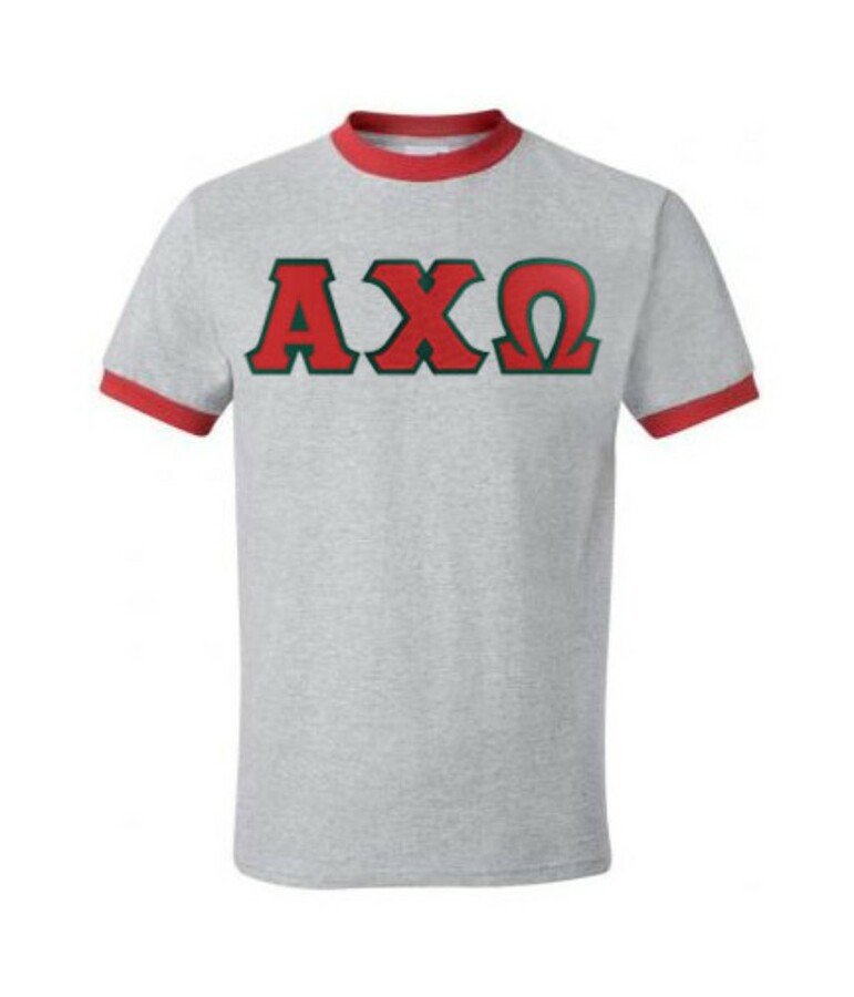 DISCOUNT-Alpha Chi Omega Lettered Ringer Shirt