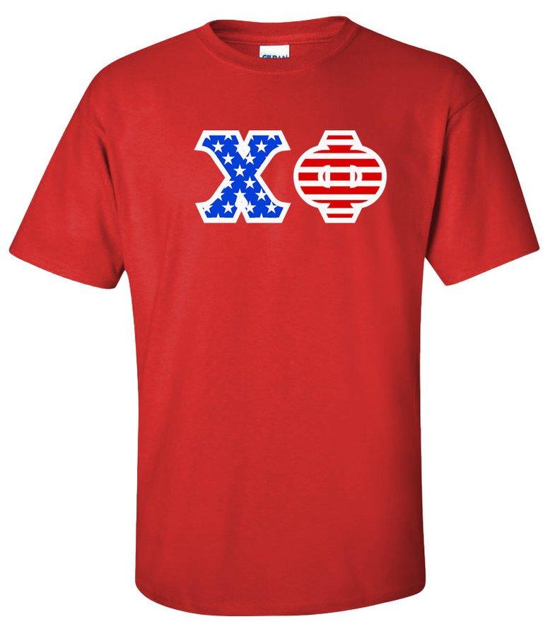 Chi Phi Greek Letter American Flag Tee