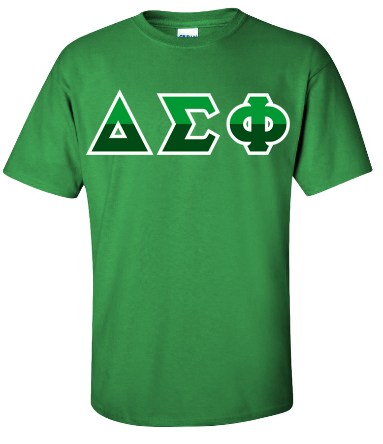 Delta Sigma Phi Two Tone Greek Lettered T-Shirt