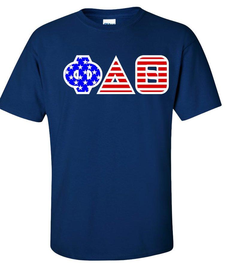 DISCOUNT-Phi Delta Theta Greek Letter American Flag Tee