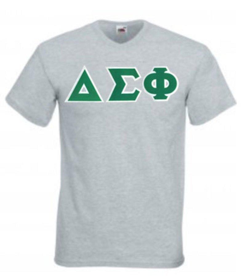 DISCOUNT- Delta Sigma Phi Lettered V-Neck T-Shirt