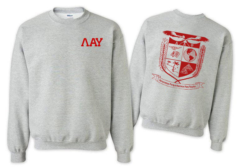 Lambda Alpha Upsilon Lettered World Famous Greek Crewneck