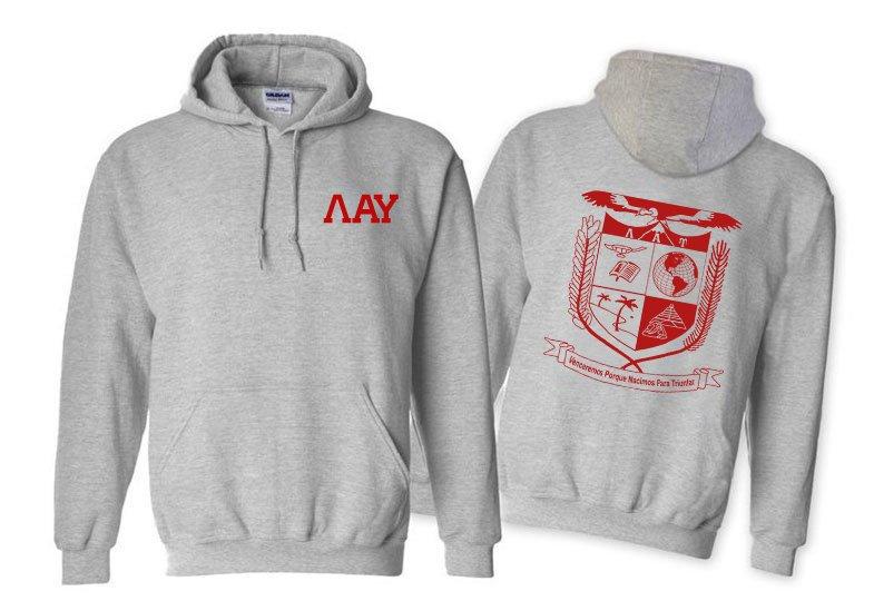 Lambda Alpha Upsilon World Famous Crest - Shield Printed Hooded Sweatshirt- $35!