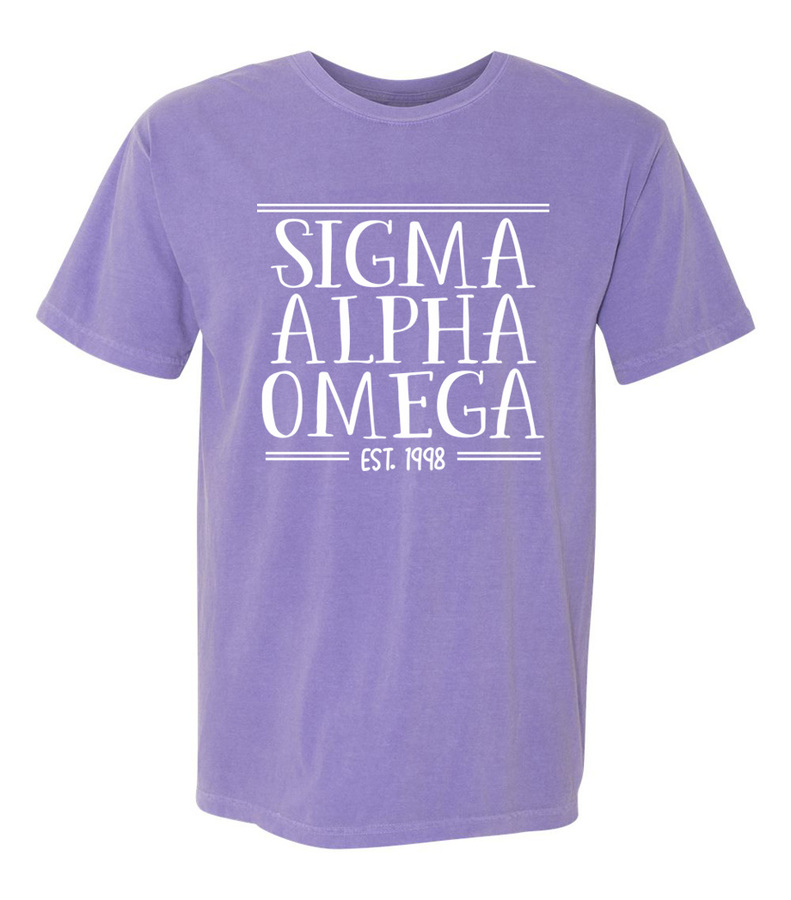 Sigma Alpha Omega Comfort Colors Custom Heavyweight T-Shirt