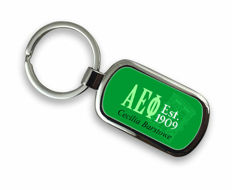 Alpha Epsilon Phi Chrome Crest - Shield Key Chain