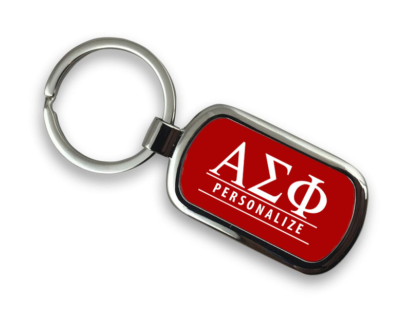 Alpha Sigma Phi Chrome Custom Keychain