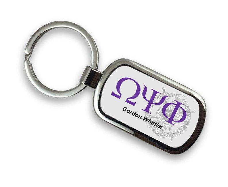 Omega Psi Phi Chrome Crest - Shield Key Chain