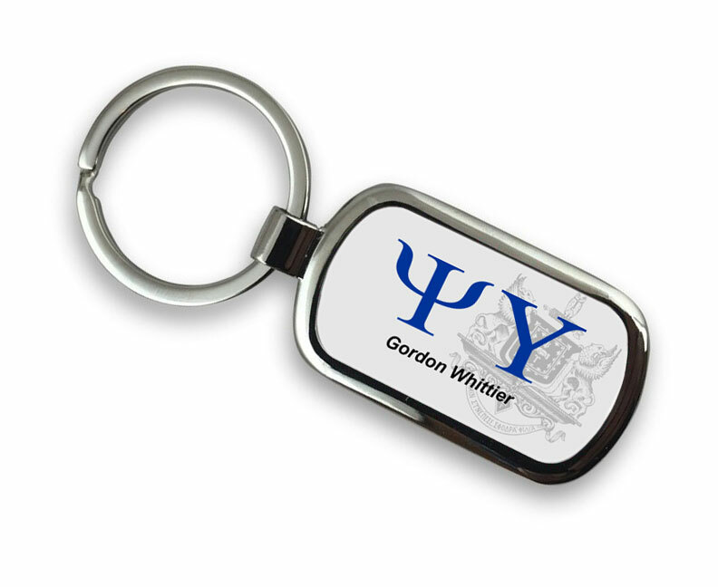 Psi Upsilon Chrome Crest - Shield Key Chain