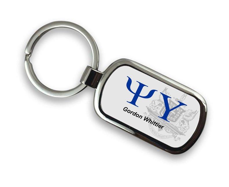 Psi Upsilon Chrome Crest - Shield Key Chain