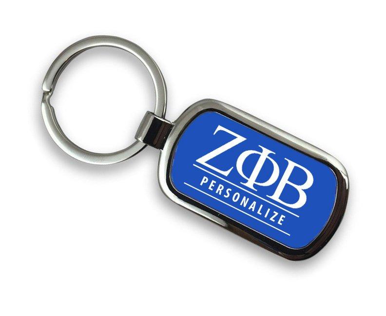 Zeta Phi Beta Chrome Custom Keychain