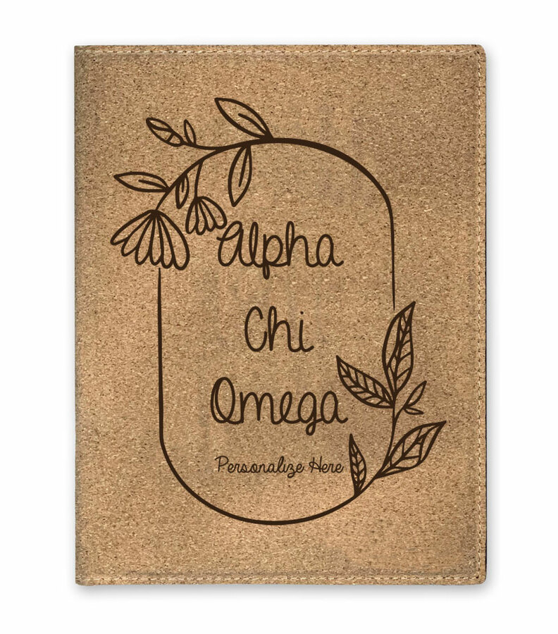 Alpha Chi Omega Cork Portfolio with Notepad