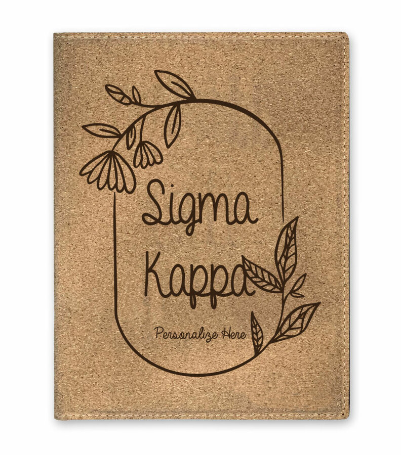 Sigma Kappa Cork Portfolio with Notepad