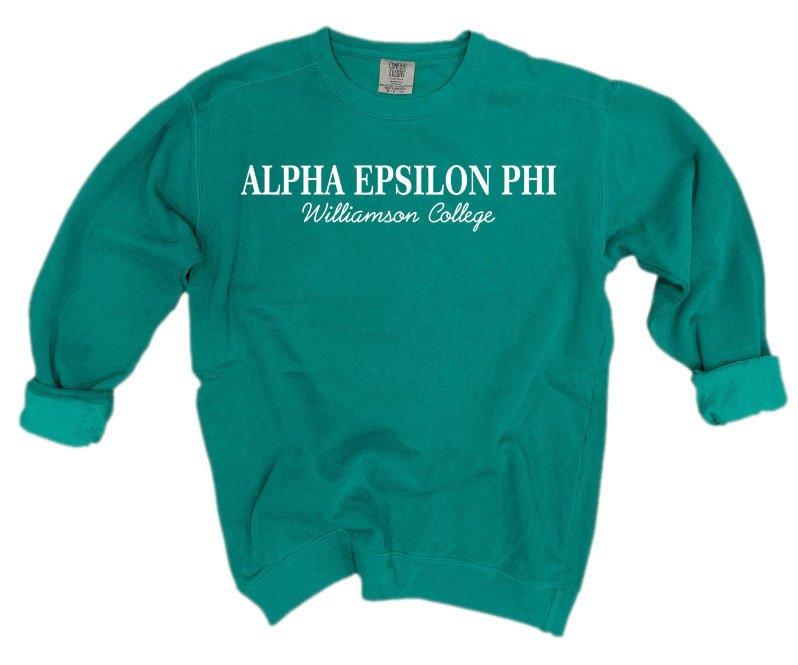 Alpha Epsilon Phi Script Comfort Colors Greek Crewneck Sweatshirt