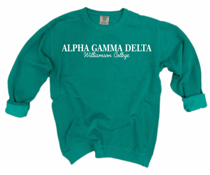 Alpha Gamma Delta Script Comfort Colors Greek Crewneck Sweatshirt