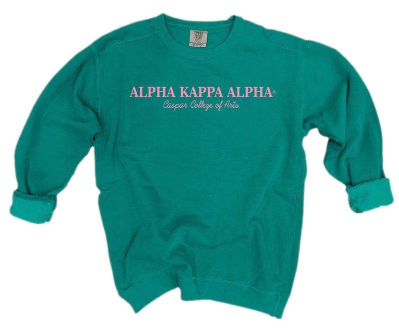 Alpha Kappa Alpha Script Comfort Colors Greek Crewneck Sweatshirt