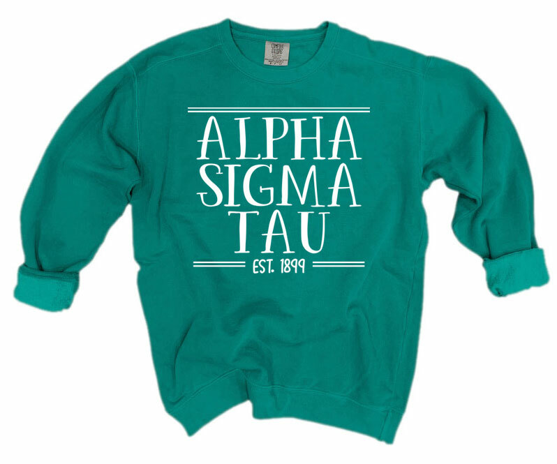 Alpha Sigma Tau Comfort Colors Custom Crewneck Sweatshirt